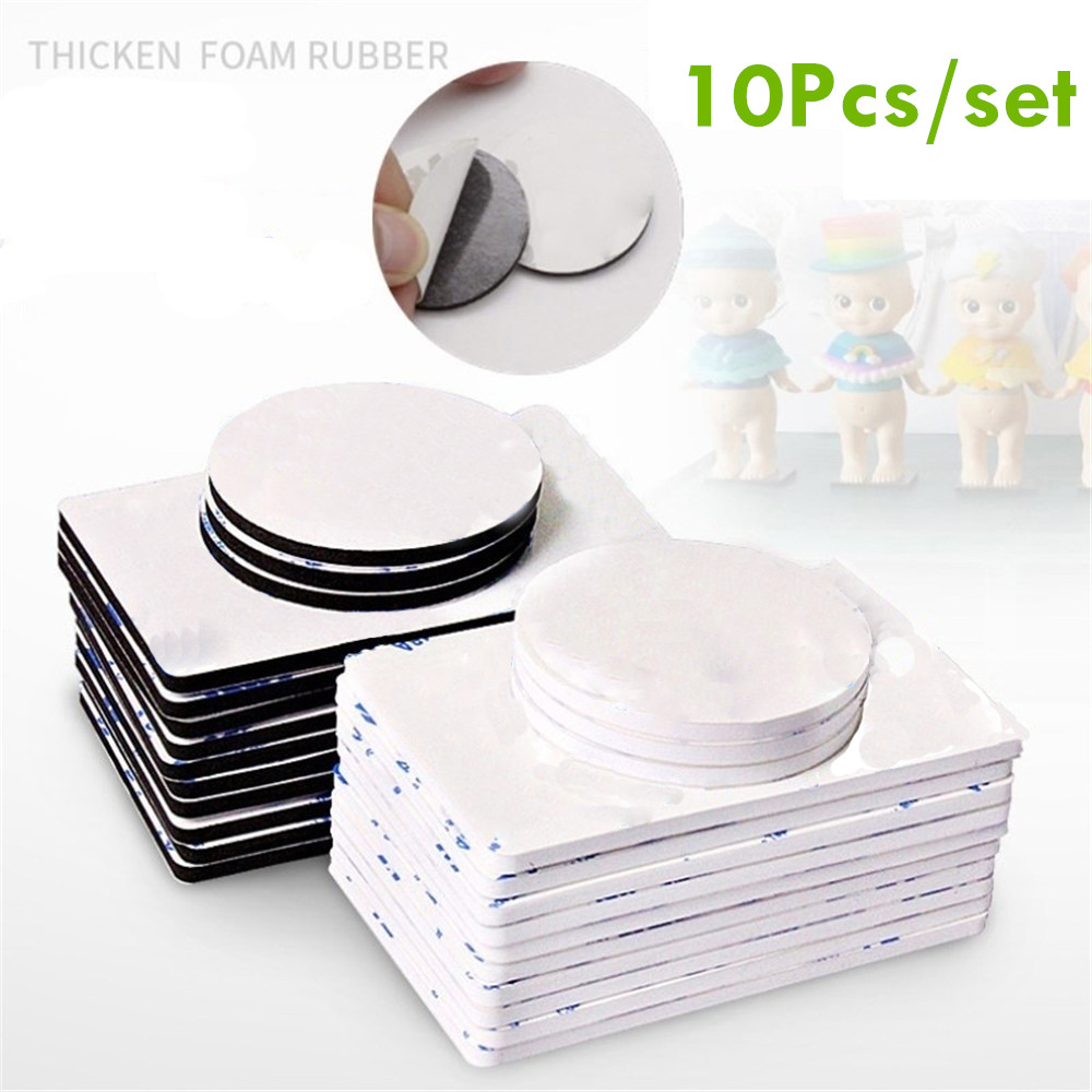 10pcs Double Sided Black Foam Tape Strong Square Car & Home Use Adhesives High Temperature Resistance Square Home Use