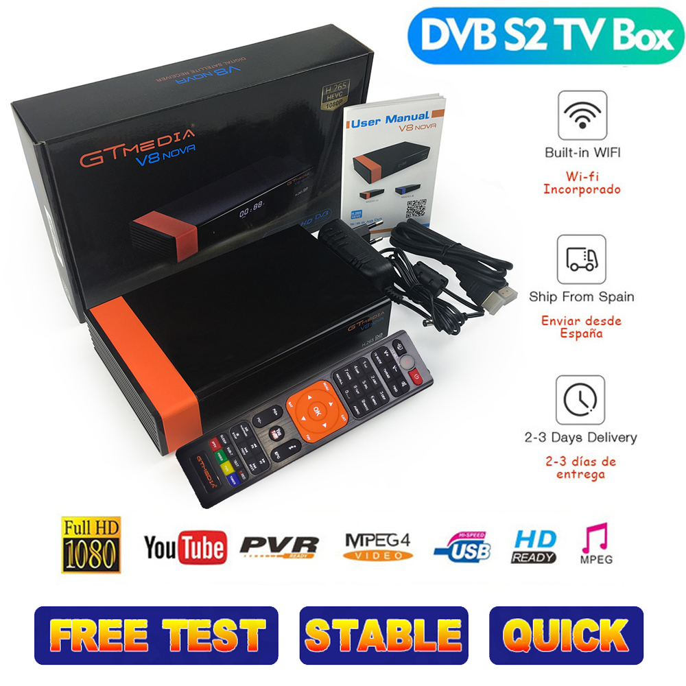 Best 1080P DVB-S2 GTmedia V8 nova ccam Cline Spain Satellite TV Receiver Same Nova Freesat europe cccam