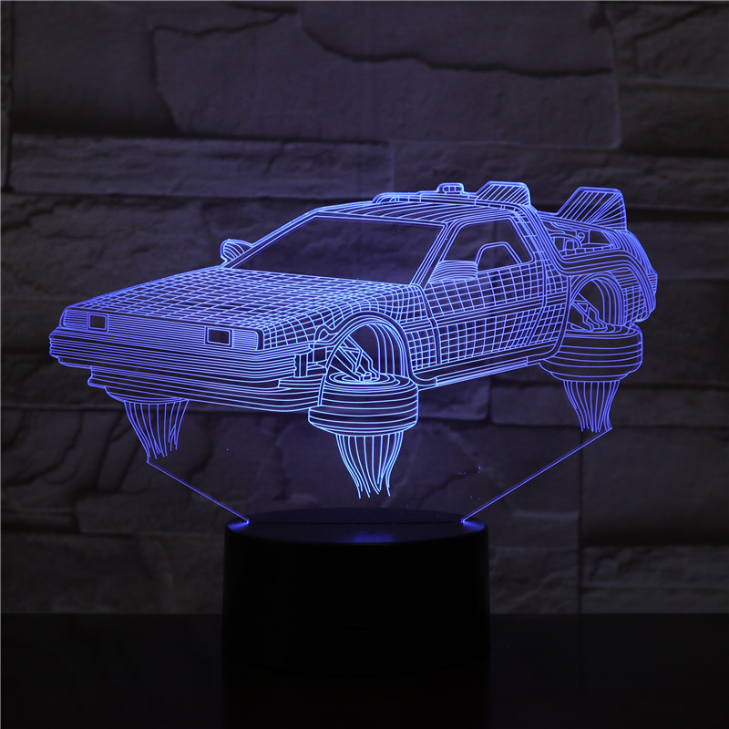 Back To The Future Vehicle Car 3D Lamp Pretty Gift For Movie Fans Nightlight Battery Operated Led Night Light Lamp Fast Delivery