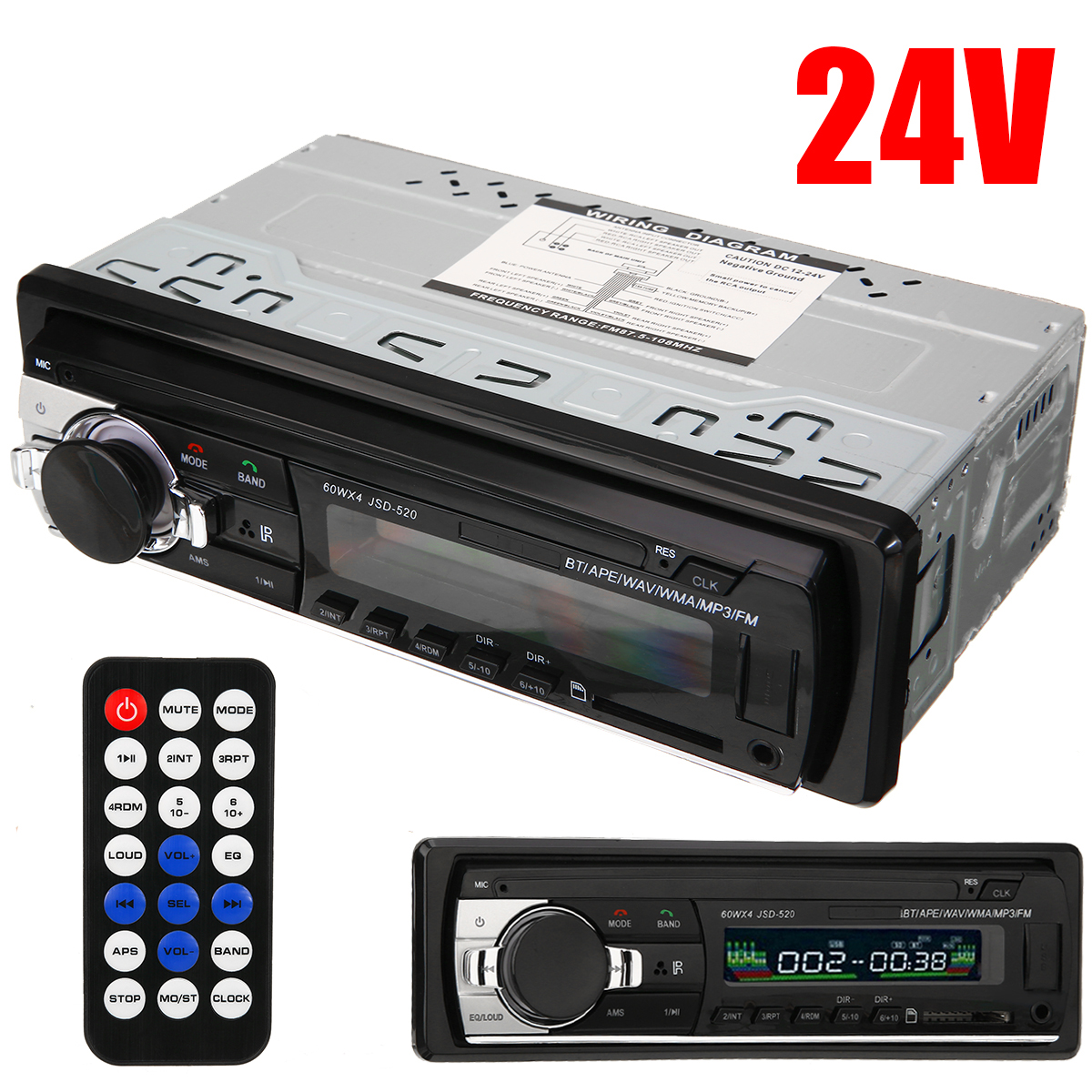 1pc 24V Car Auto Radio Stereo Player Digital bluetooth MP3 Player FM Stereo Audio USB/SD Remote Control With In Dash AUX Input image
