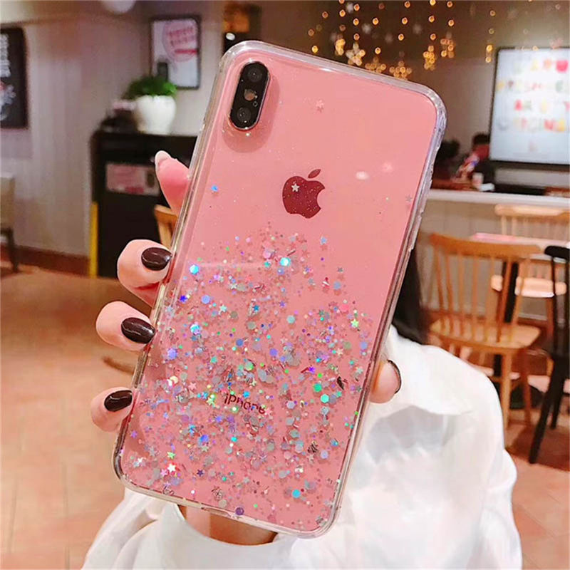 Ottwn Glitter Bling Sequins Case For iPhone 11 Pro X XR XS Max 7 8 6 6s Plus Transparent Stars Phone Cases Soft TPU Back Cover