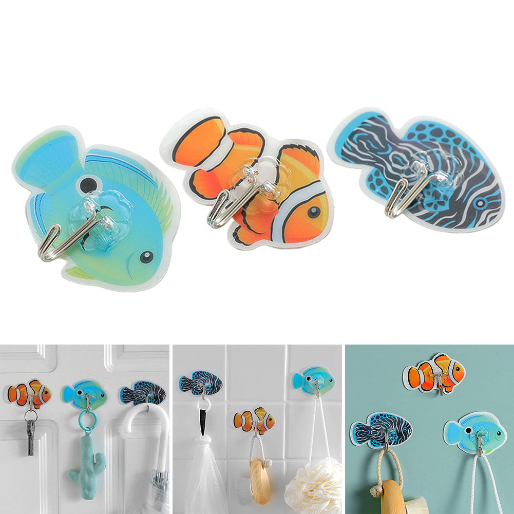 3pcs Robe Cartoon Fish Small Space Saving Kitchen Tool Garage Strong Storage Hook Towel Self Adhesive Bathroom Wall Mounted Coat