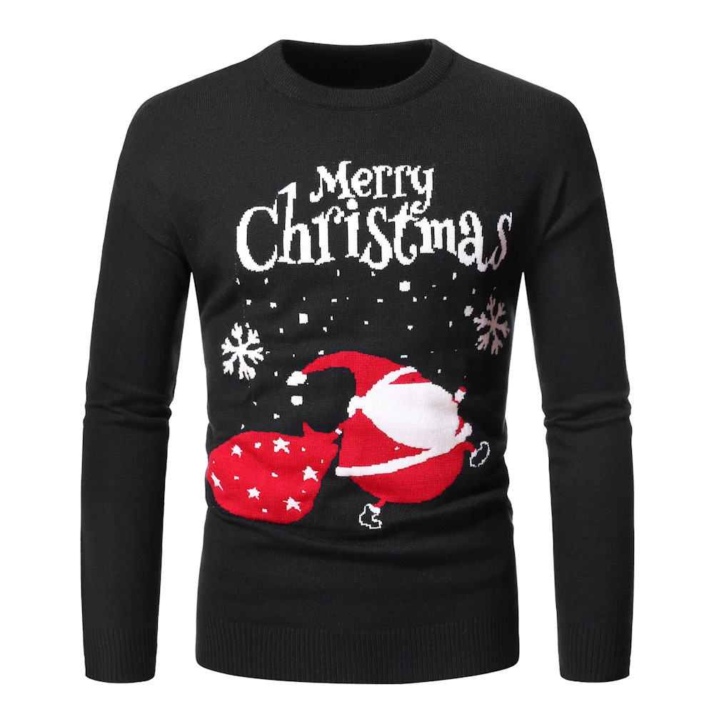 Xmas Sweater Mens O-Neck Printing Santa Claus Christmas Pullover Men Warm Casual Slim Oversized Ribbed Hem Coat Winter Clothes