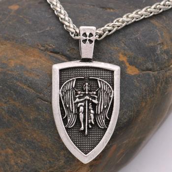 Collar de la medalla del escudo del ángel del amuleto del Arcángel de la Nostalgia, protección del guerrero vikingo sueco, Cruz ortodoxa rusa, joyería eslava