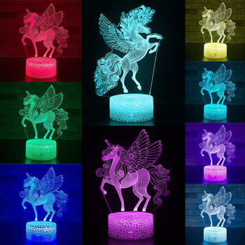 USB Powered Remote and Touch Control 3D LED Night Light  Unicorn-series 16 Color Change LED Table Desk Lamp Kids Bedroom Decor remote touch control 3d led night light led table desk lamp dolphin led night light color change 3d led light for kids gift 30
