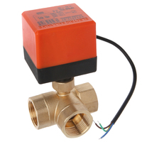 TOP! AC220V 3 Way 3 Wire 2 Control Motorized Ball Valve Electric Actuator DN25