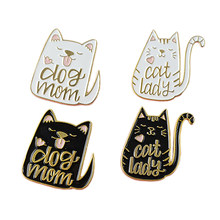 4Pcs Vintage Kimono Lucky Cartoon Brooch Cat Dog Fish Brooch Enamel Pin Metal Badge Brooch For Women Men Badge Hat Jewelr(China)