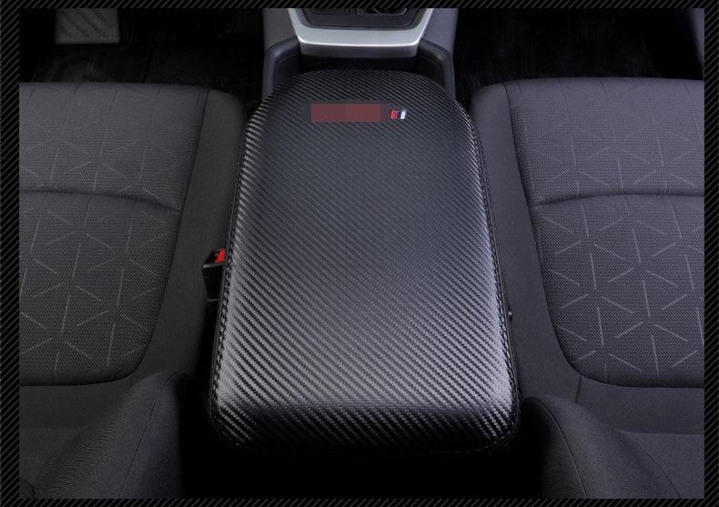 Image 3 - Super fiber Carbon Or Black Leather Car Central Armrest Cover For Toyota RAV4 RAV 4 XA50 2019 2020 Car accessoriesCar Anti-dirty Pad   -