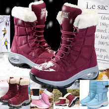 Women Boots Winter Keep Warm Quality Mid-Calf Snow Boots Ladies Lace-up Comfortable Waterproof Booties Chaussures Femme Ski boot