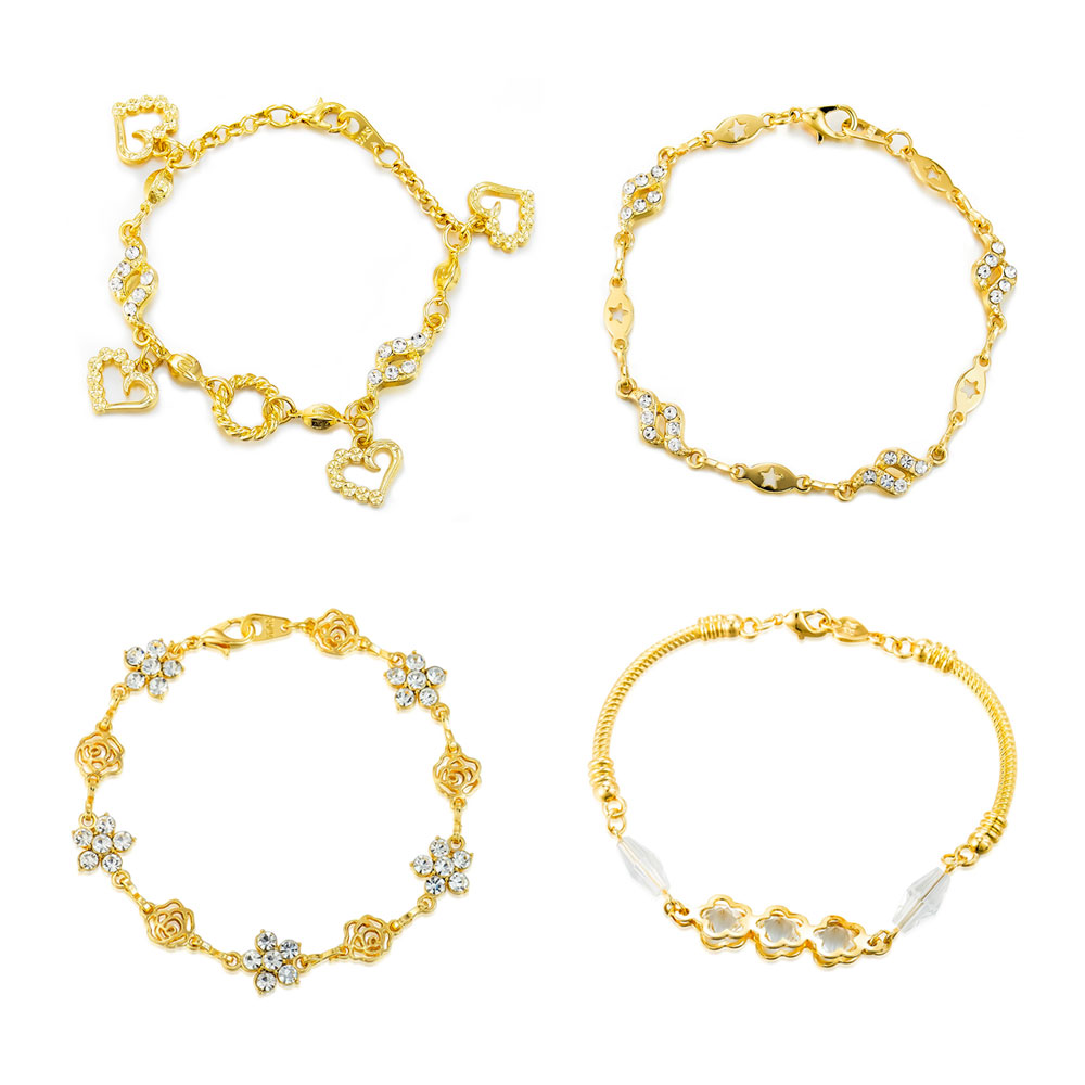 Viennois Bangles Bracelet Jewelry Geometric Wedding-Party Gold-Color Women for Chain