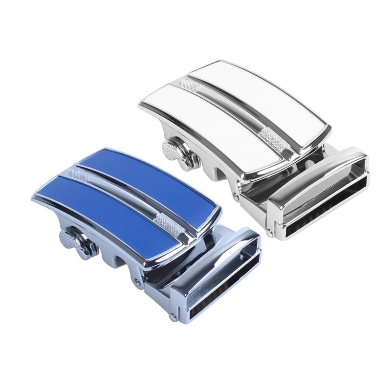 2pcs Men's Solid Buckle Automatic Ratchet Leather Belt Buckle In The Middle With De E-d-g-e - Silver & Blue + Silver
