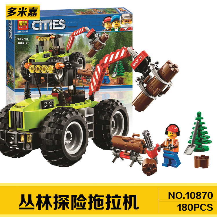 10870 180pcs Compatible Legoinglys City Jungle Forest Tractor Bela 1 Figure Building Block Bricks Toys For Children