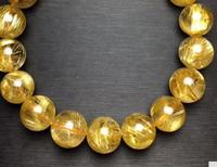FREE SHIPPING Natural Gold Hair Rutilated Quartz Crystal Round Beads Bracelet AAAA 11.5mm fine jewelry
