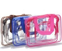 Путешествия ПВХ косметика сумки для женщин прозрачный прозрачный молния макияж сумки органайзер ванна стирка макияж сумка сумка сумки чехол