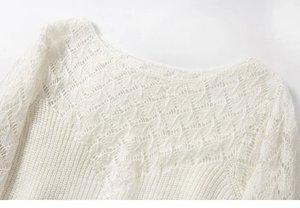 Image 3 - Elfbop wełna moher Hollow Out Patchwork sweter z długim rękawem sweter damski biały/czarny/zielony/różowy Top w jednolitym kolorze