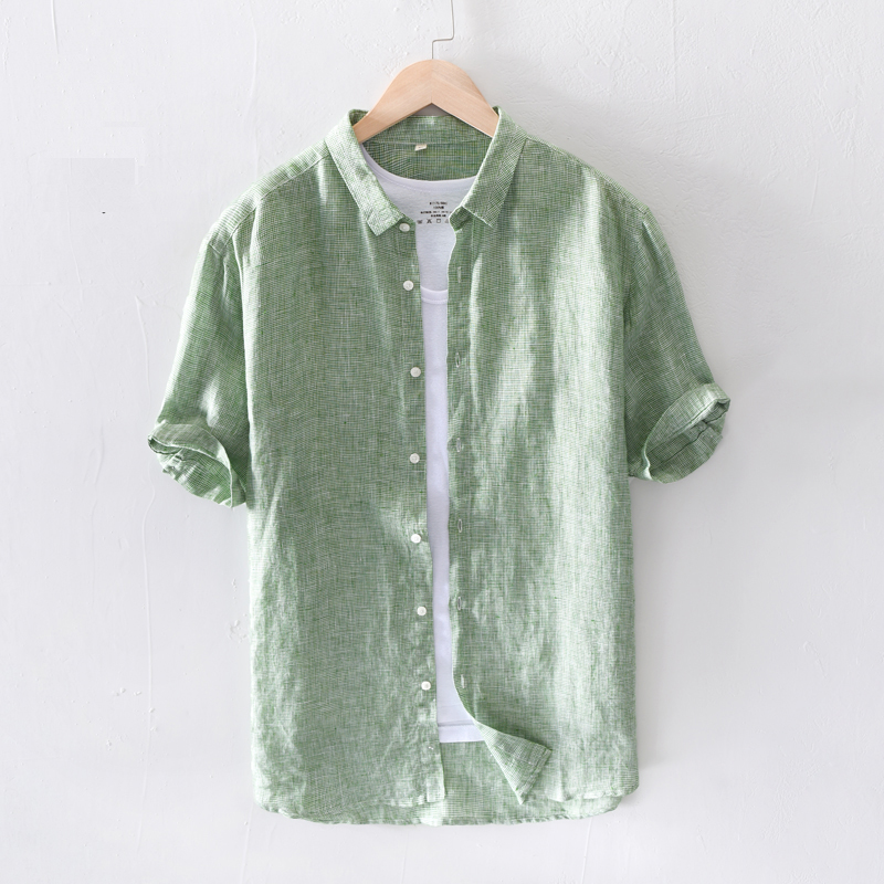 100% Pure Linen Men Short Sleeve Shirts Casual Fashion Solid Green Pink Turn-down Collar Man 2020 Summer Tops Y2443