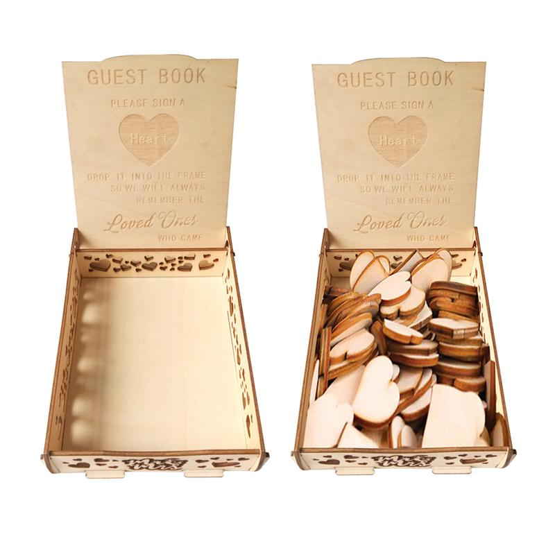 Retro Wooden Guest Book Wooden Wedding Signature Box Heart Shape Wood Pieces Storage Box