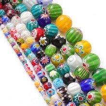 4 6 8 10 12 14mm murano lampwork contas de flores para fazer jóias diy artesanato acessórios multicolorido redondo contas de vidro atacado