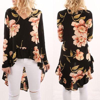 Stylish Women Floral Long Sleeve Blouse Ladies Chiffon Loose Casual Irregularity Tops