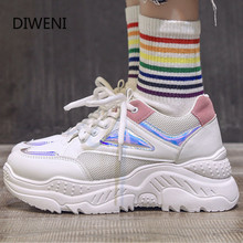 2020 Spring New Women Sneakers Fashion Casual Shoes Woman Comfortable Breathable Mesh Flats Female Platform Vulcanized Shoes women sneakers leather shoes spring trend casual flats sneakers female new fashion comfort cute heart vulcanized platform shoes