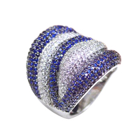 LYCOON Free shipping Trendy Newest blue and white stone stripe ring fashion rose flower Ring prong Setting Cubic Zirconia for Women Party Ring