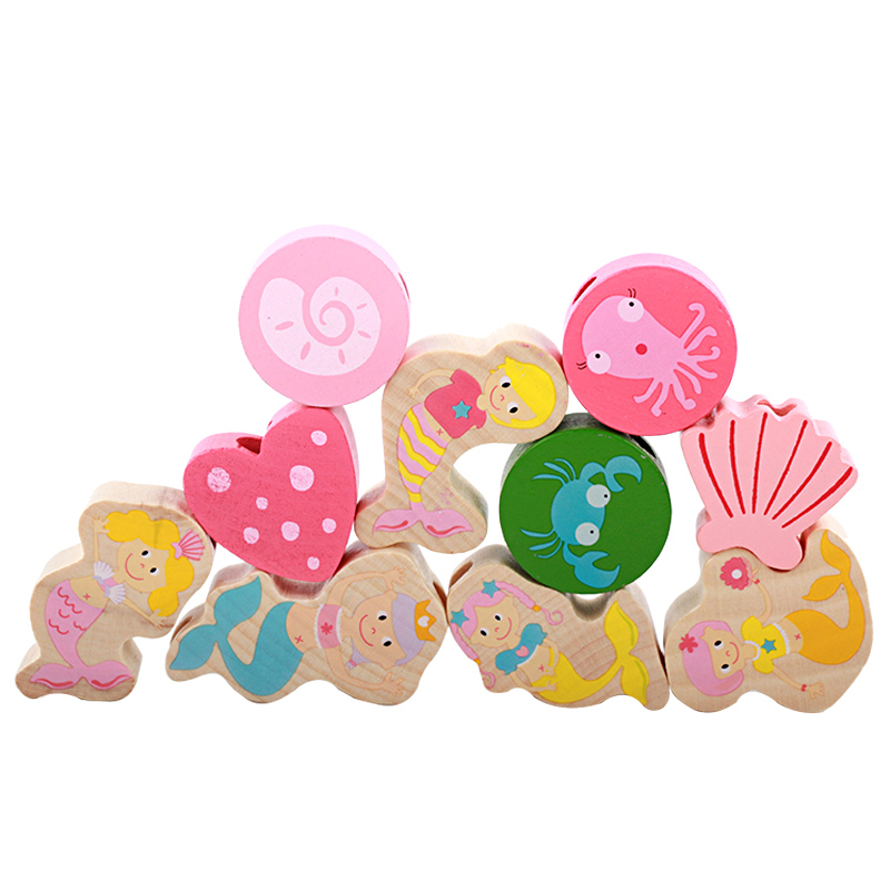 Cute Fish Wooden Toys  Baby DIY Toy Wooden Beads Toys Large Grain Mermaid Beads Learning Education For Children Toys Girls Gifts