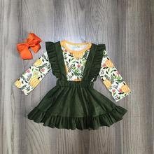 Fall/winter Halloween baby girls children clothes cotton forest green pumpkin flower ruffle skirt boutique long sleeve match bow