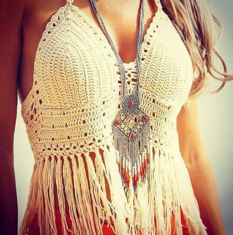 Hot Swimsuit Beach Sun-Protection Cover-up Swimsuit European And American-Style Hand-Made Tassled Bikini Top