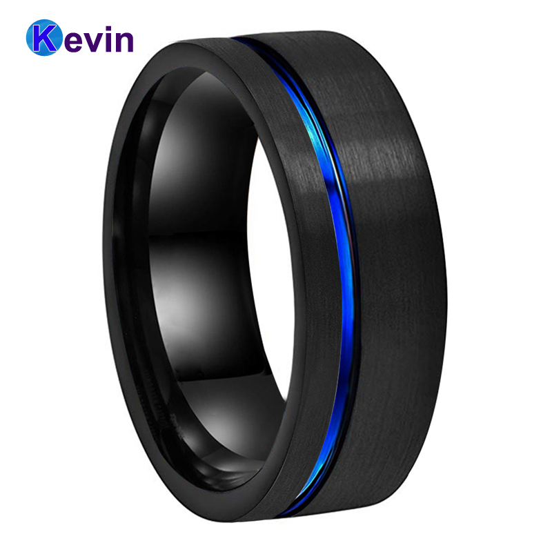 Black Blue Wedding Band Men Women Tungsten Wedding Ring With Blue Groove Flat Band 8MM Comfort Fit