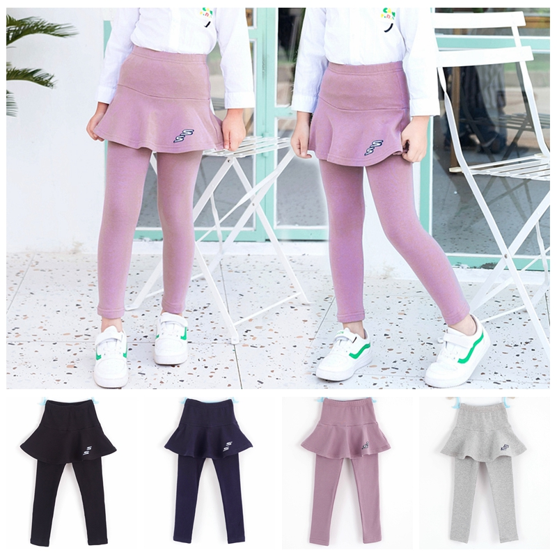 2019 Girls Pants Skinny Kids Leggings Children Clothing Autumn Cotton Leggings Baby Girl Skirt-pants High Quality 2-8Y