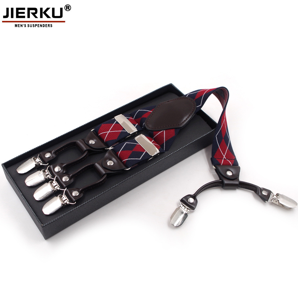 Supply Adult Jacquard Navy Grid 6 Clip Men Suspender Strap 3.5 Cm Suspender Currently Available Supply