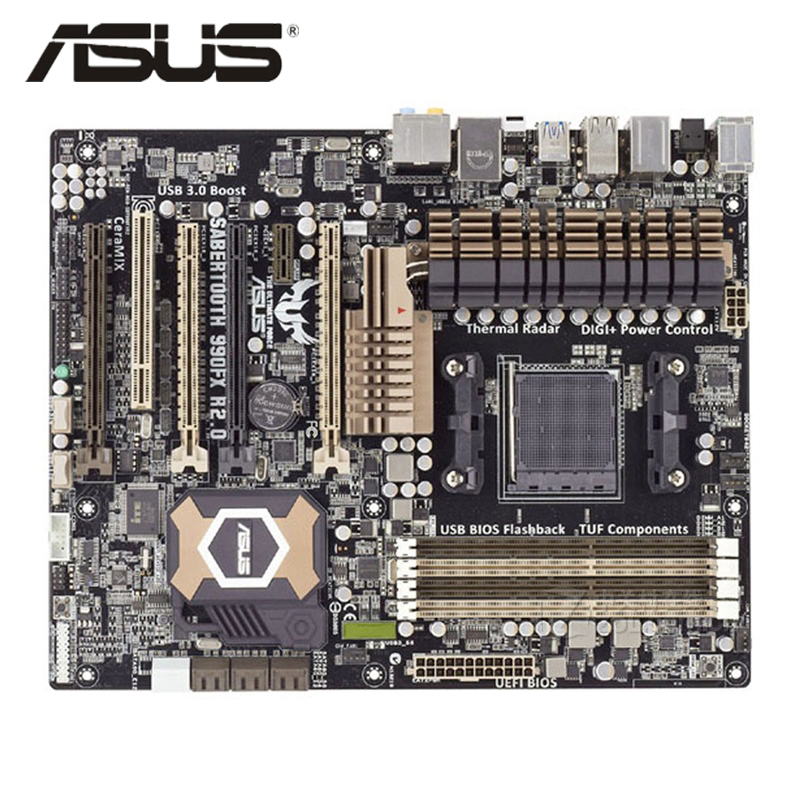 Socket AM3+ ASUS SABERTOOTH 990FX R2.0 Motherboard ATX SABERTOOTH 990 FX Systemboard DDR3 For AMD 990FX Desktop Mainboard Used