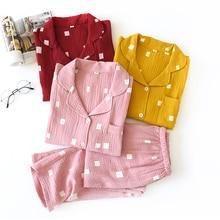 Japońskie świeże zestawy piżam kobiet 100% z gazy bawełnianej z długim rękawem casual urocza bielizna nocna kobiet piżamy lato gorąca sprzedaż