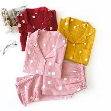 Spring New sweet 100% crepe cotton pajama sets women sleepwear pure cotton Japanese Fresh long sleeve women pyjamas 2020