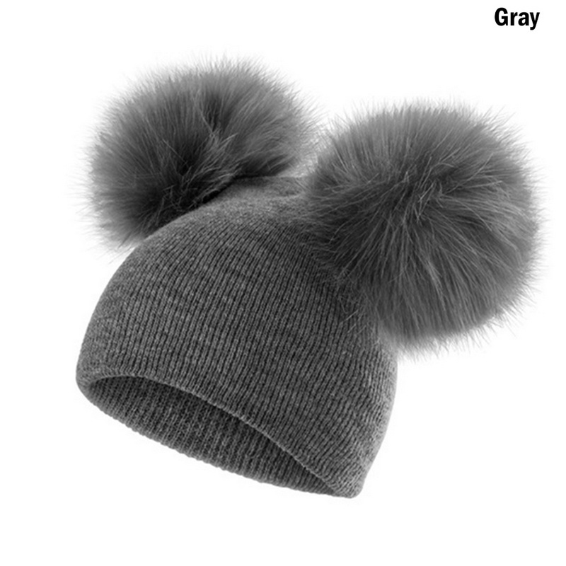 Fashion Winter Baby Warm Hat Infant Knit Hat Toddler Crochet Double Fuffy Ball Beanie Ski Cap 2019 New Fashion Comfortable