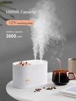 1000 ml portátil aroma difusor de óleo essencial ultra sônico usb umidificador de ar com 2 névoa tomada 3600mah bateria para casa escritório|Umidificadores| |  -