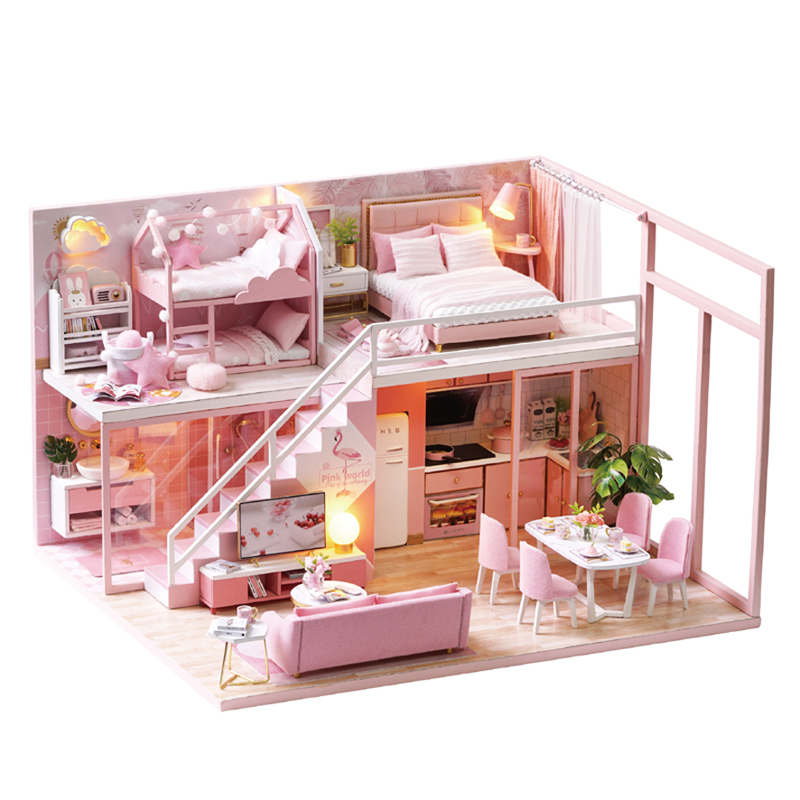 DIY Doll House Wooden doll Houses Miniature Furniture Dollhouse Kit Casa Music Toys for Children Birthday Christmas Gifts  L27