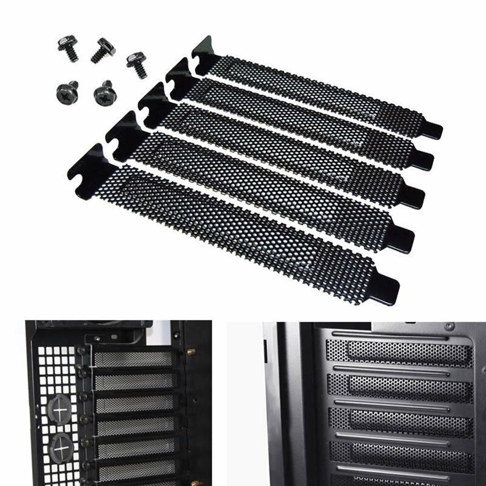New 5Pcs PCI Slot Cover Dust Filter Blanking Plate Hard Steel Black W/ Screws