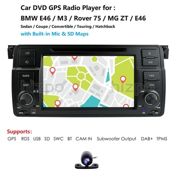 AutoRadio 1 Din Car DVD Player For BMW E46 M3 Rover 75 1999-2005 GPS Navigation BT SWC RDS DVBT DAB+TPMS CAM image