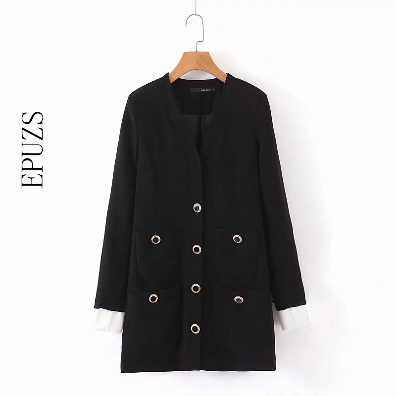 Autumn Black Women Blazers And Jackets Long Sleeve Triple Breasted  Blazer Coat Women Elegant Long Blazer Korean Suit Jacket