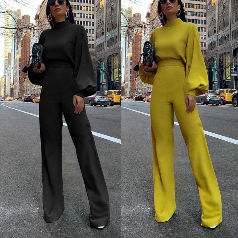 Elegant Street Long Sleeve Black Bodysuit Turtleneck Spandex Overalls For Women Barboteuse Femme Jumpsuit autumn 2020
