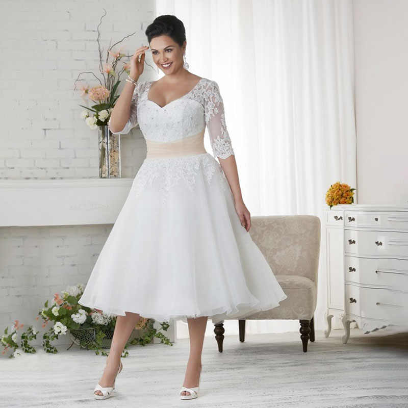 Short Vintage Tea Length Plus Size Modest Wedding Dresses With 3 4 Sleeves A Line Beaded Appliques Informal Modest Bridal Gowns Aliexpress