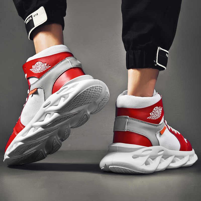 Neue männer atmungsaktiv und dicken sohlen student sport Schuhe Adulto schuhe mode-trend casual männer Turnschuhe high top herren schuhe