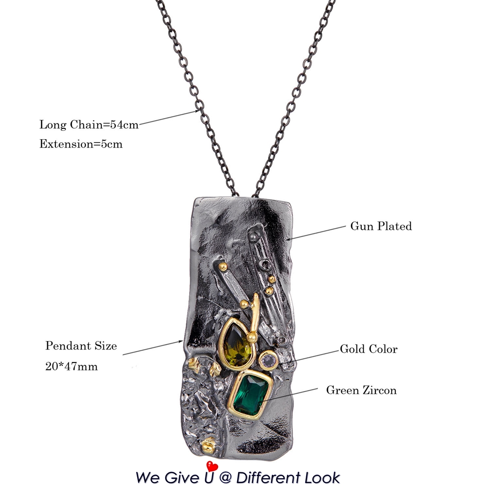 WP6678 DreamCarnival1989 New Gothic Collection Zircon Rectangle Pendant Necklace Women Exaggerated Personality Black Gold Color (11)