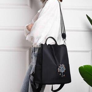 Image 4 - Fengdong women black flower vintage backpack anti theft small travel backpack for girls waterproof oxford floral school backpack