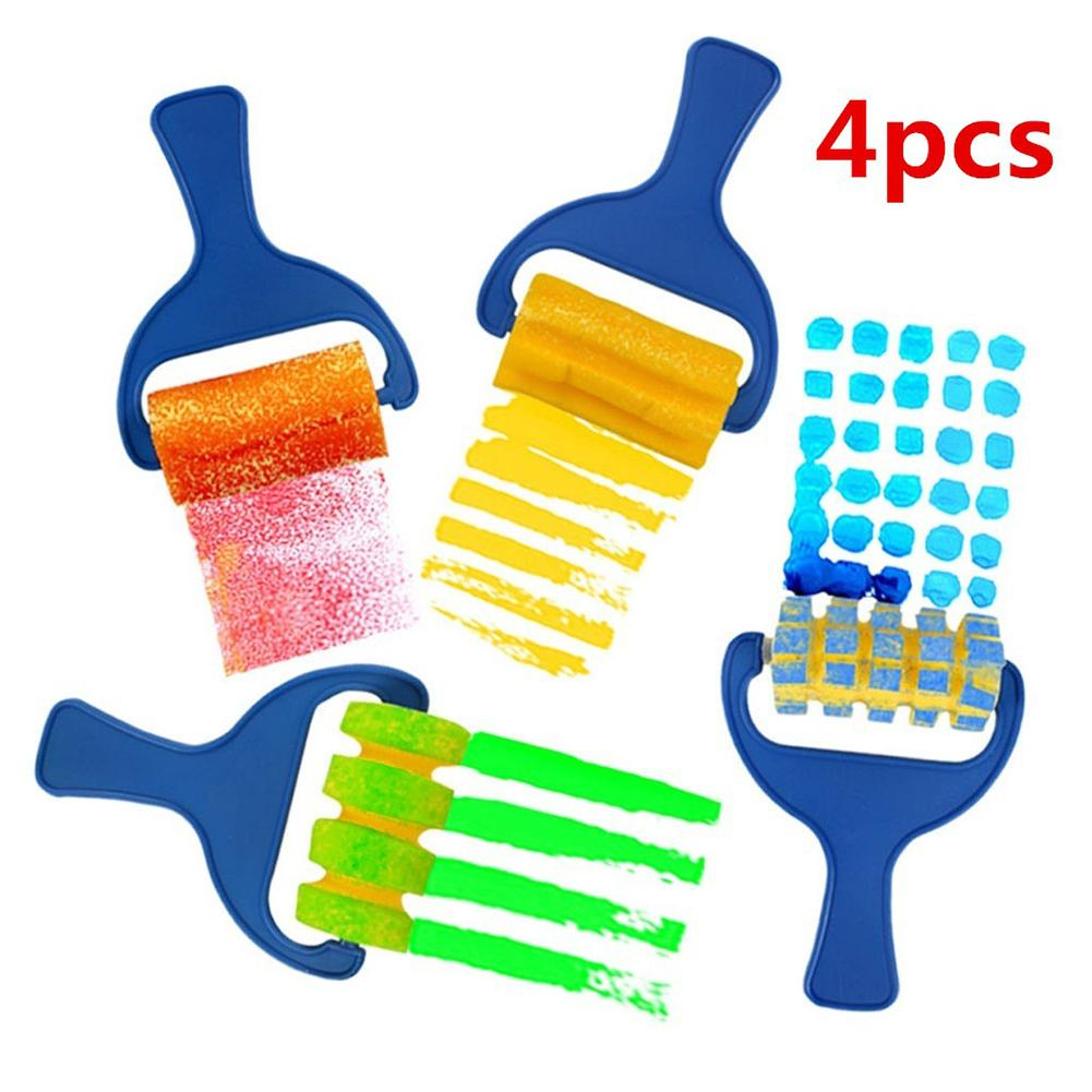 4Pcs Sponge Paint Roller Brush DIY Kids Art Painting Tool Toy Preschool Children Sponge Brush Graffiti Painting Art Supplies