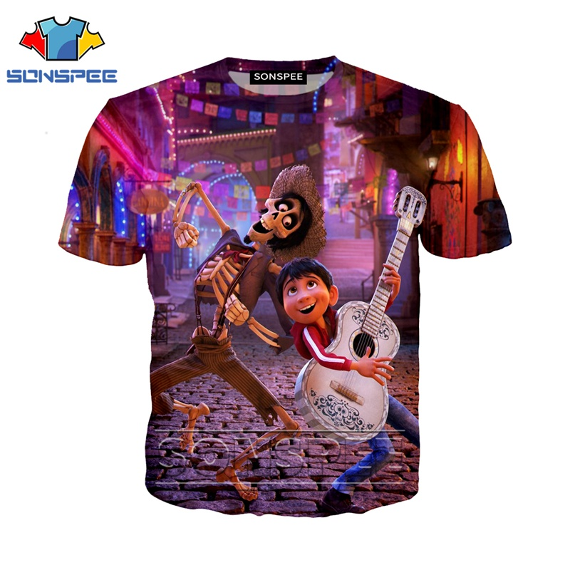 Anime 3d Print T Shirt Men Women Homme Coco Guitar Short Sleeve Fashion T-shirt Harajuku Top Tees Funny Shirts Homme Tshirt A05
