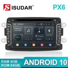 Isudar PX6 1 Din Android 10 Radio del coche para Dacia/Sandero/Duster/Renault/Captur/Lada/rayos X 2/Logan 2 Auto reproductor Multimedia RAM 4G