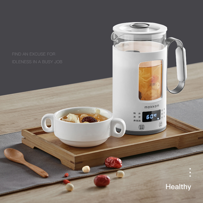 220V Electric Kettle Multi-function Tea Pot Mini Portable Health Preserving Pot Glass Boiled Hot Water bottle Warm Kettle 600ML