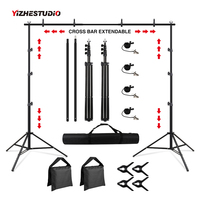 Photography Studio Background Support Portable Backdrop Stand kit for Photo Studio Muslin Backdrops with Carrying Bag and clips